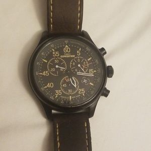 Field Chronograph Watch, Brown Leather Strap